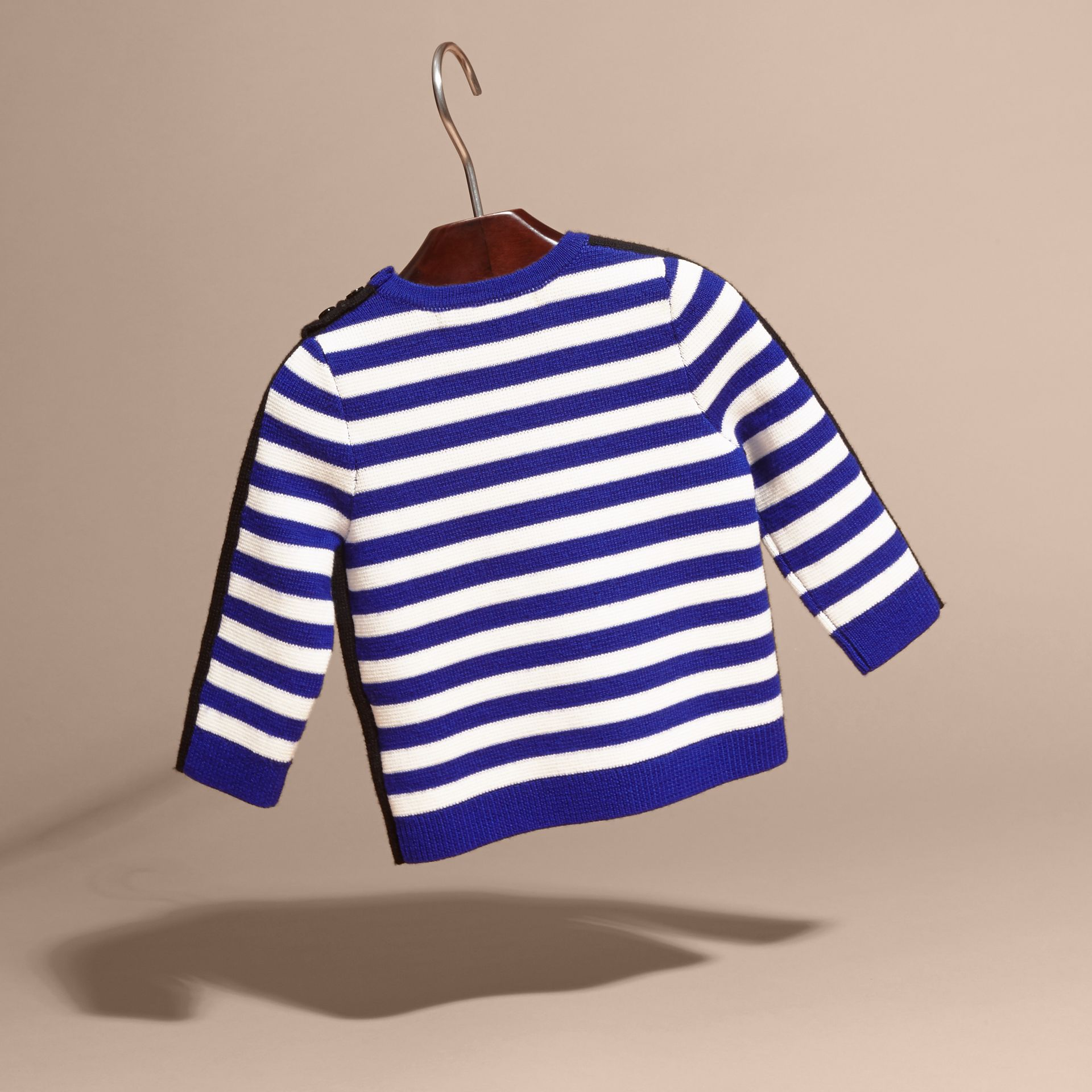 Striped Cotton Merino Wool Sweater with Appliqué - gallery image 4