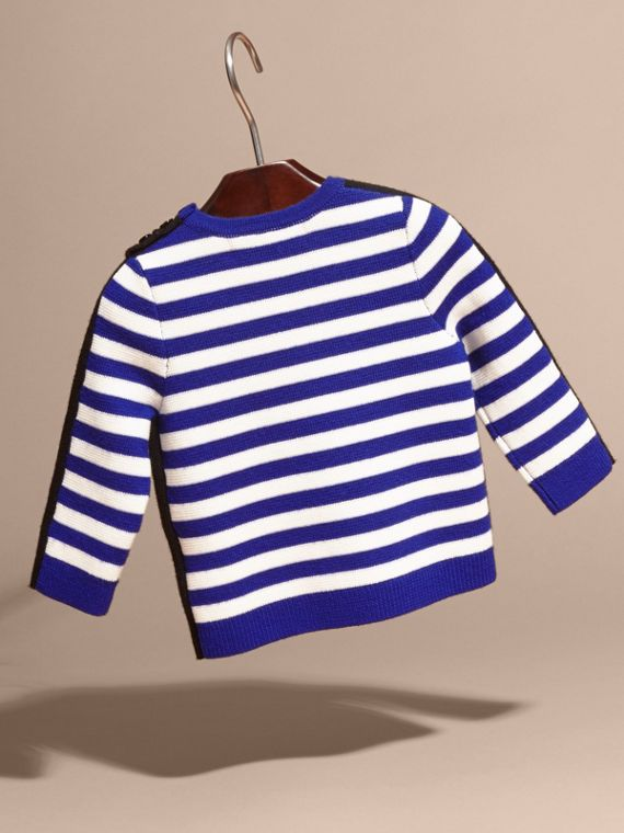 Striped Cotton Merino Wool Sweater with Appliqué - cell image 3