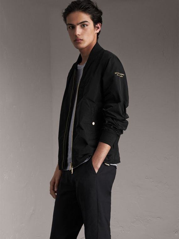 Shape-memory Taffeta Bomber Jacket in Black