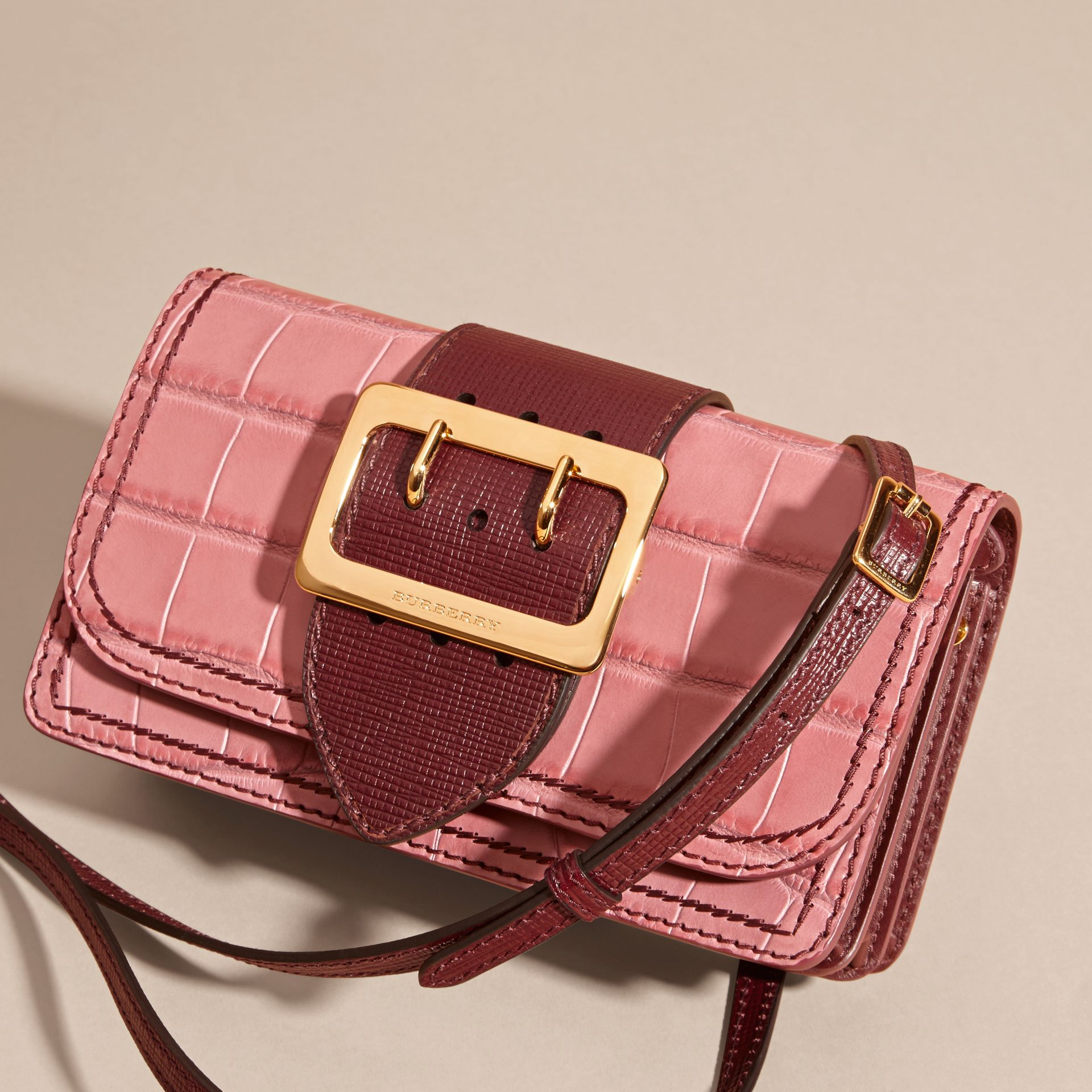Dusky pink/ burgundy The Small Buckle Bag in Alligator and Leather Dusky Pink/ Burgundy - gallery image 8