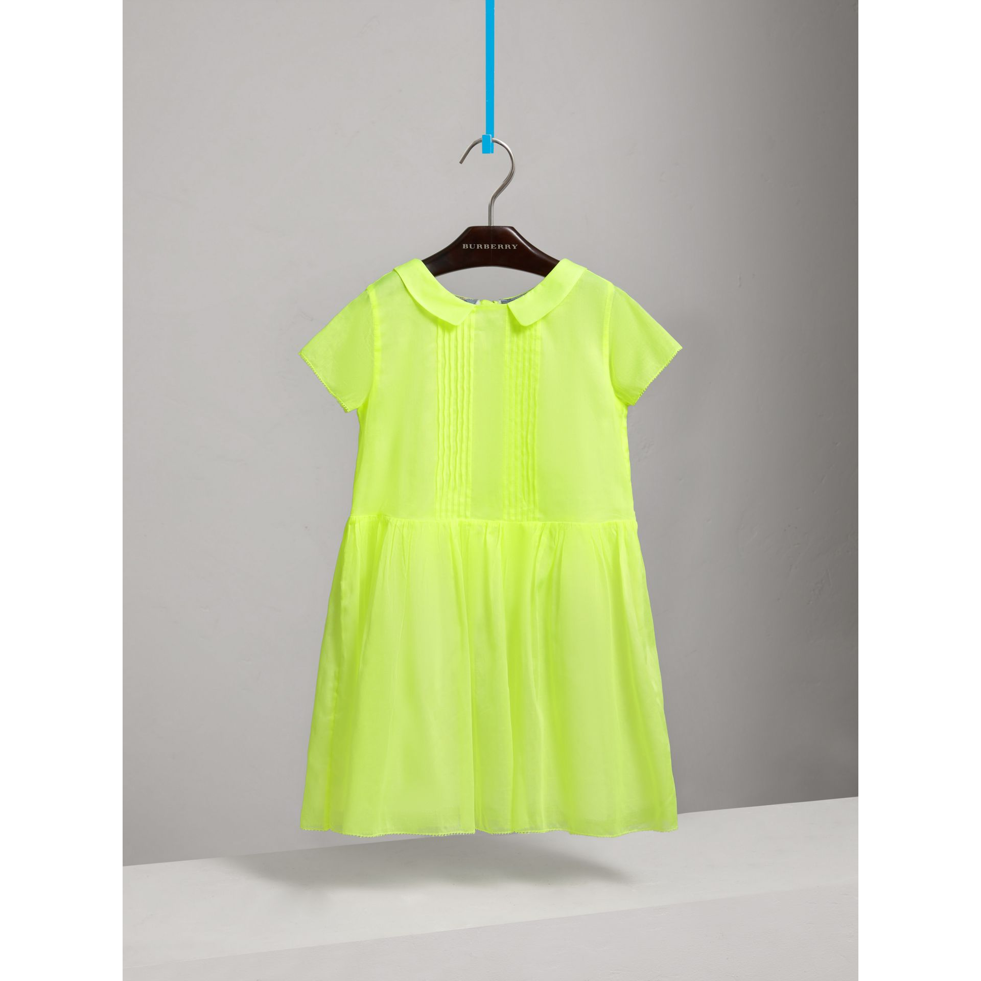Pintuck Detail Cotton Voile Dress in Neon Yellow | Burberry - gallery image 0
