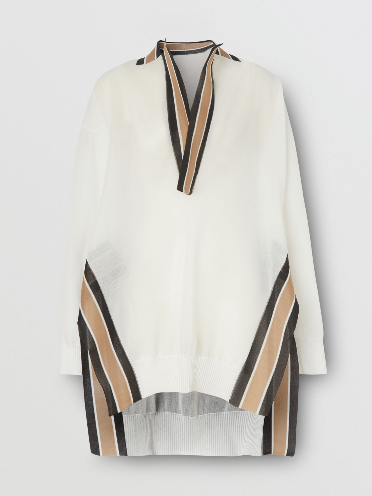 Long-sleeve Cricket Stripe Detail Knit Oversized Top in White