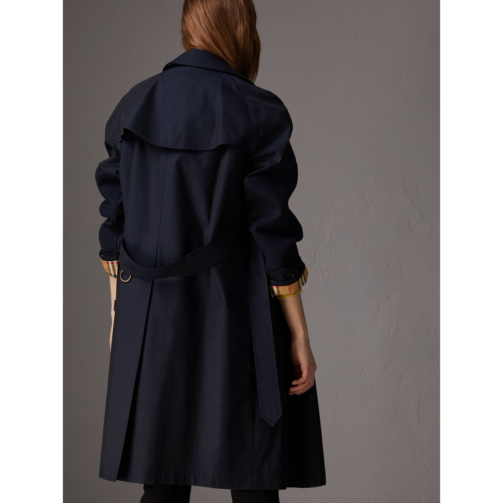 Tropical Gabardine Asymmetric Trench Coat in Blue Carbon - Women | Burberry - gallery image 2
