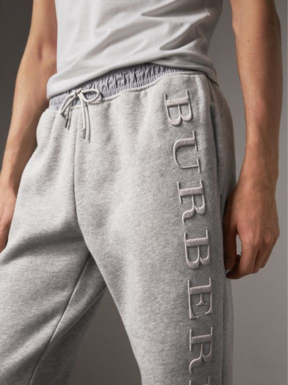 Embroidered Jersey Sweatpants in Pale Grey Melange - Men | Burberry Singapore - cell image 1