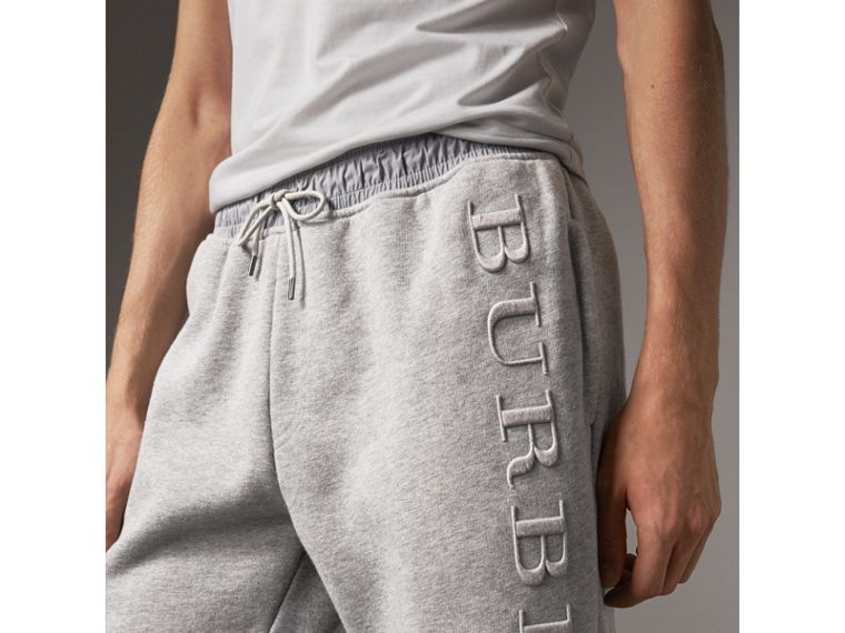 Embroidered Jersey Sweatpants in Pale Grey Melange - Men | Burberry Hong Kong - cell image 1
