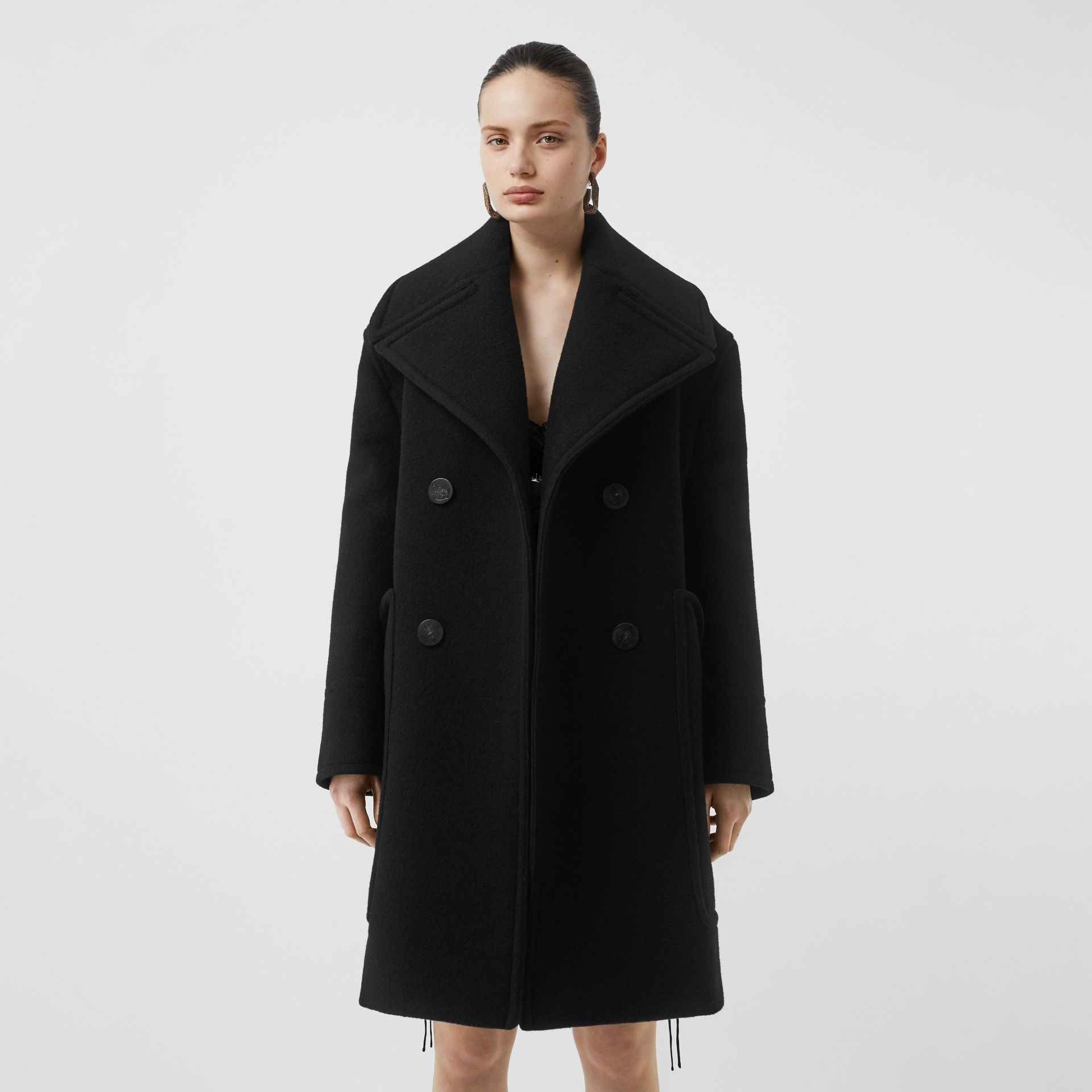 Wool Oversized Pea Coat in Black - Women | Burberry - gallery image 5
