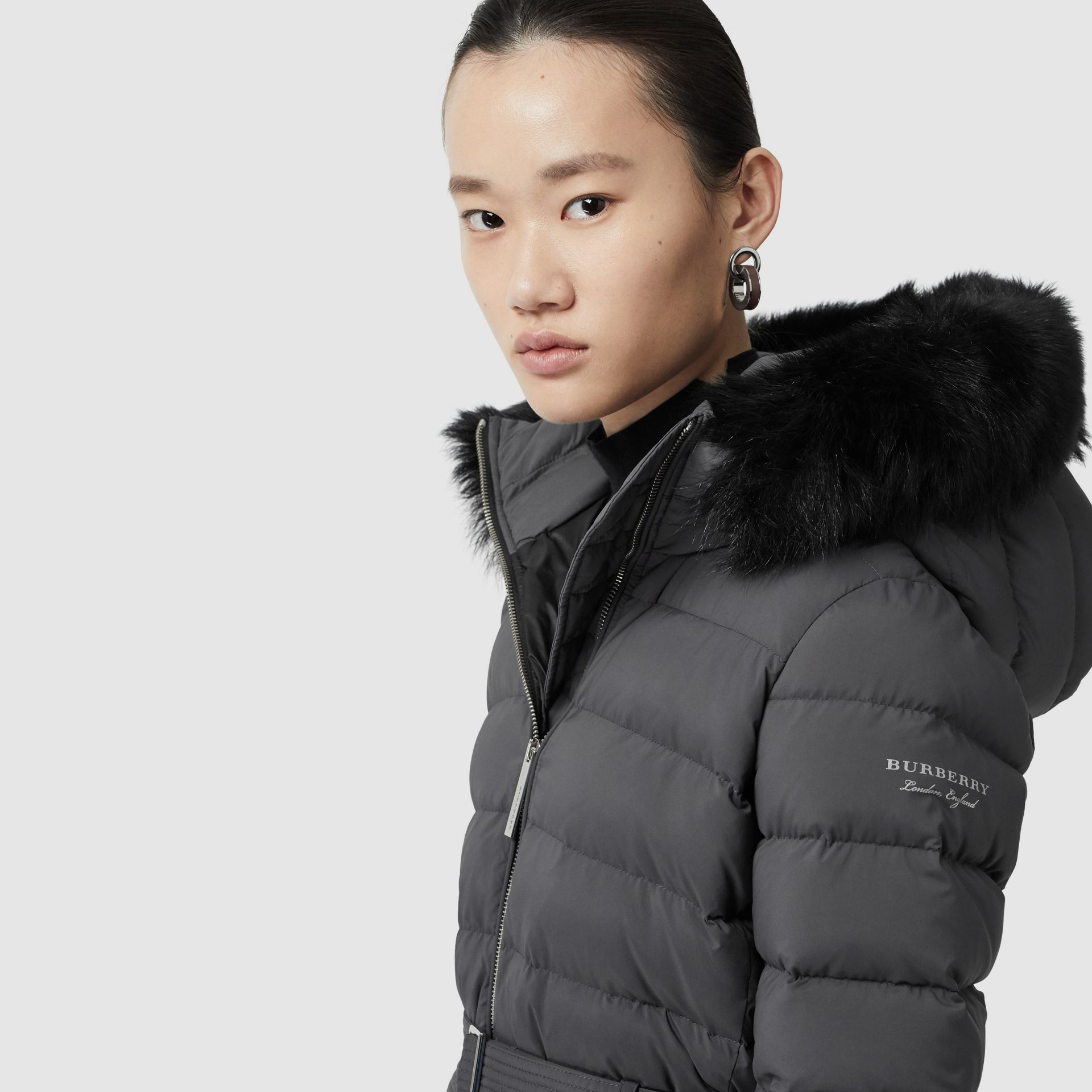 Detachable Shearling Trim Down-filled Puffer Coat in Mid Grey - Women | Burberry United States - gallery image 1
