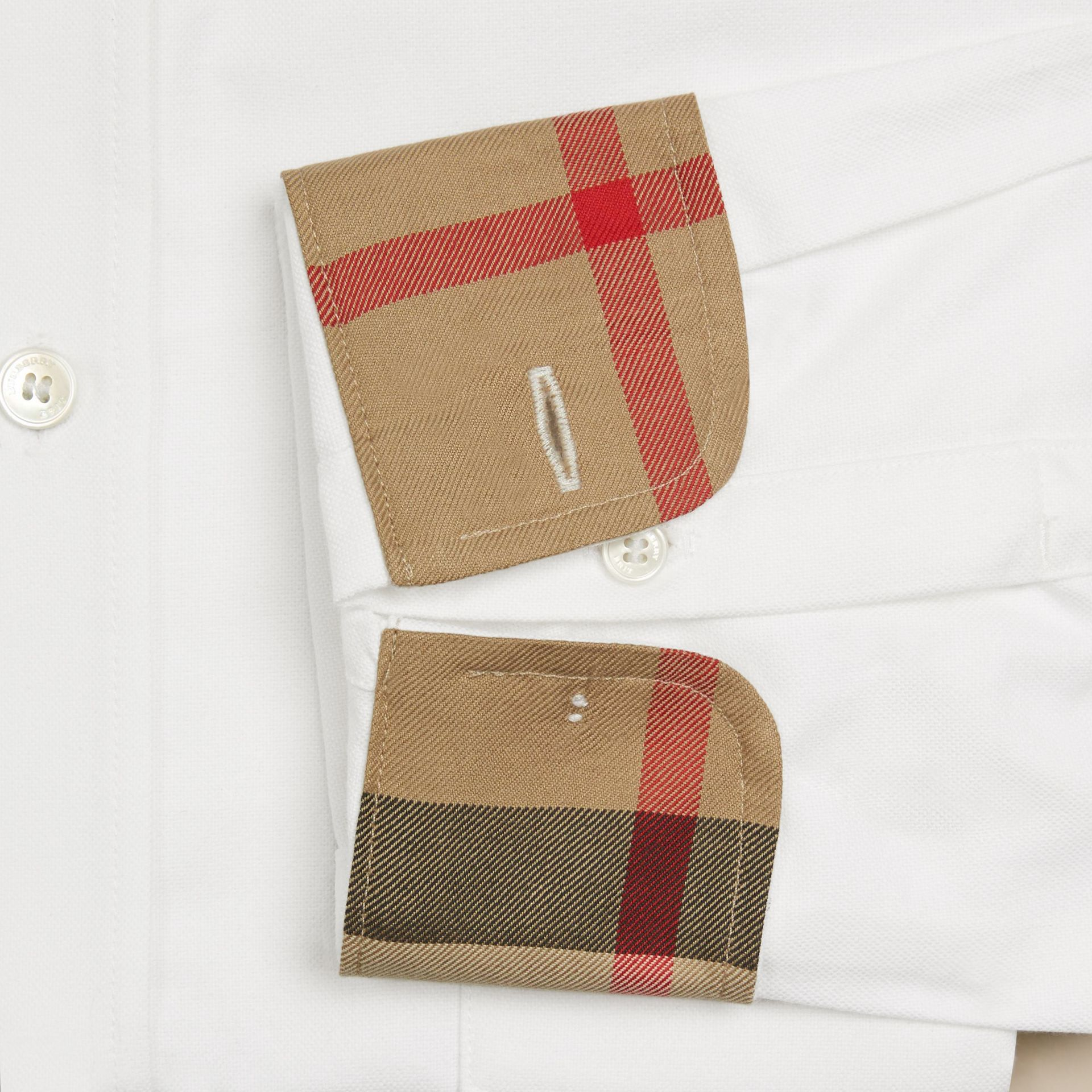 White Check Detail Cotton Oxford Shirt White - gallery image 2