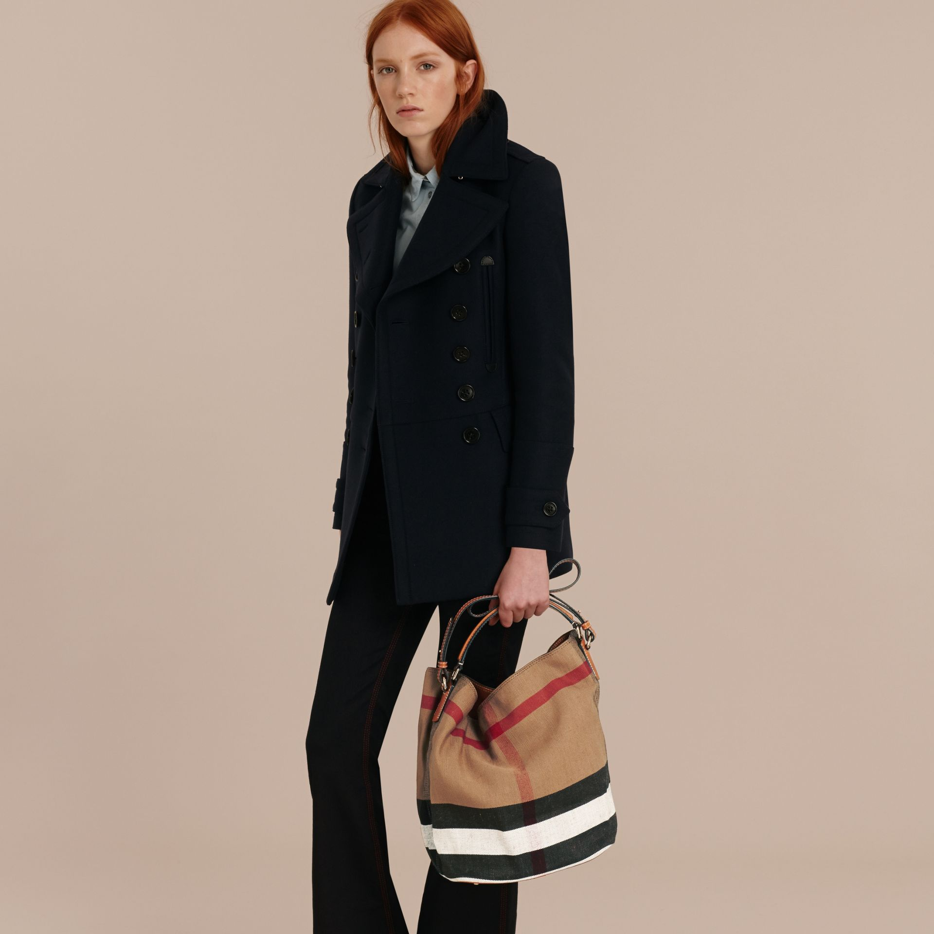 The Medium Ashby in Canvas Check and Leather in Saddle Brown - Women | Burberry - gallery image 3