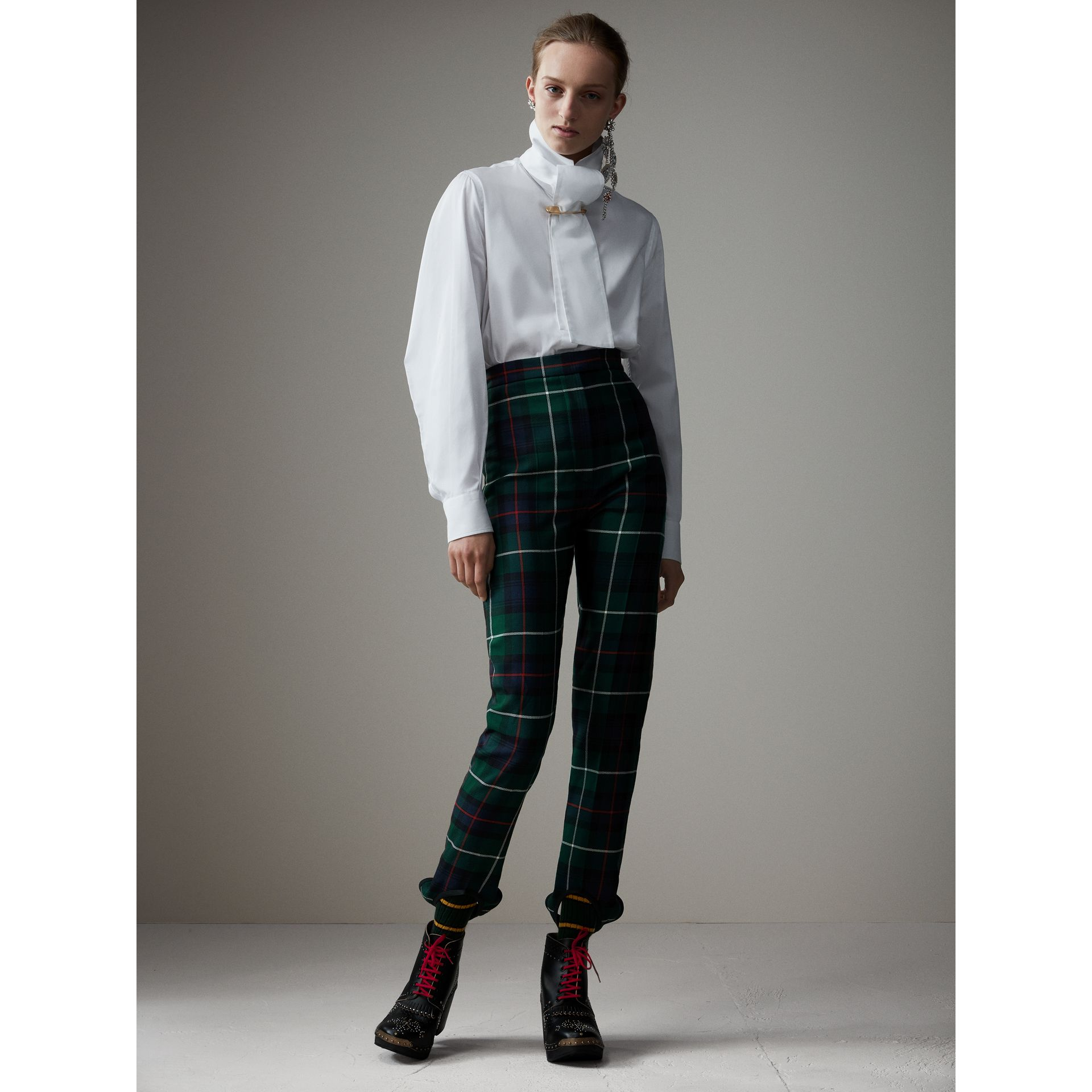 Tartan Wool High-waisted Stirrup Trousers in Forest Green - Women | Burberry Singapore - gallery image 4