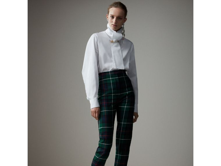 Tartan Wool High-waisted Stirrup Trousers in Forest Green - Women | Burberry Singapore - cell image 4