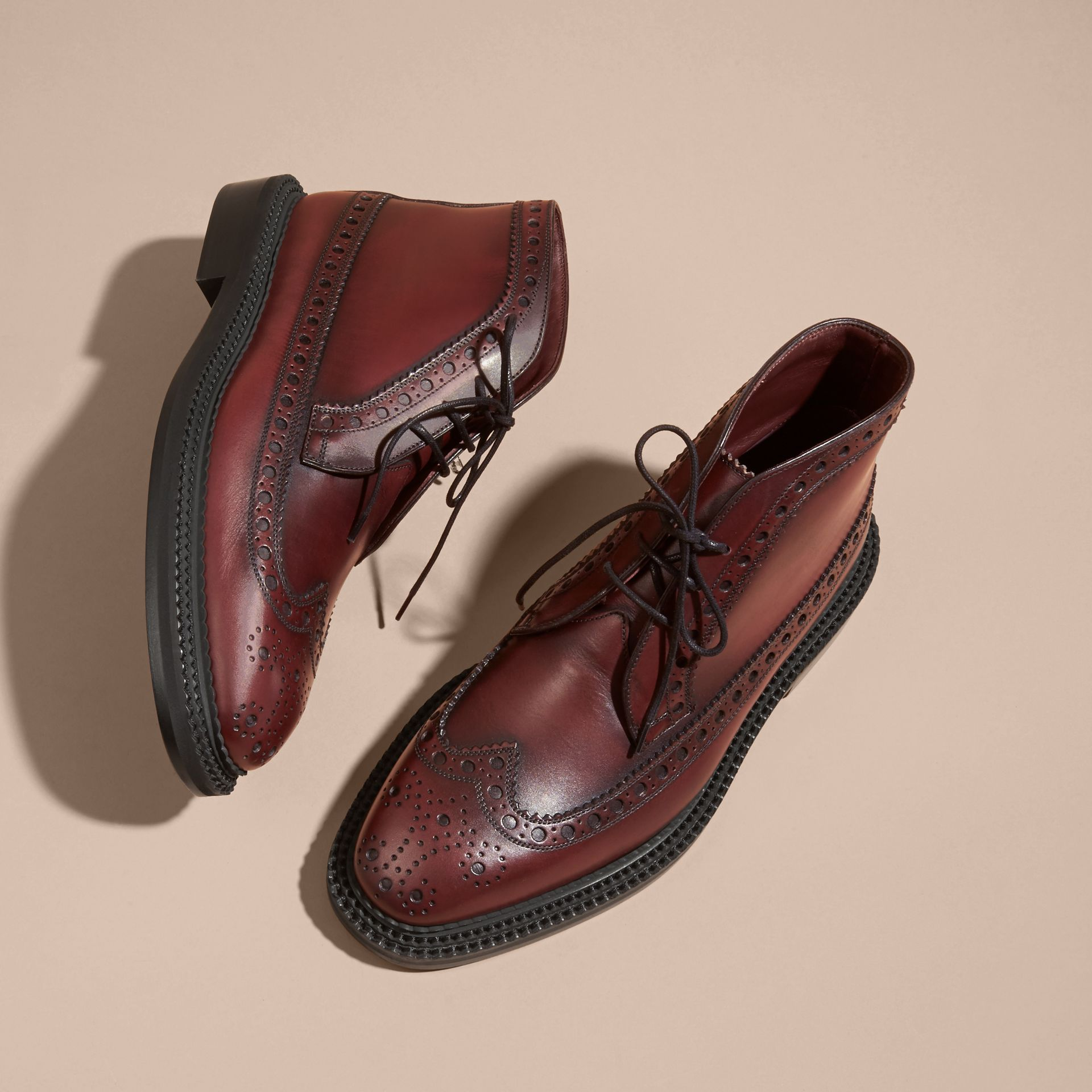 Bordeaux Leather Brogue Boots - gallery image 3