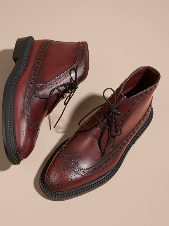 Bordeaux Leather Brogue Boots - cell image 2