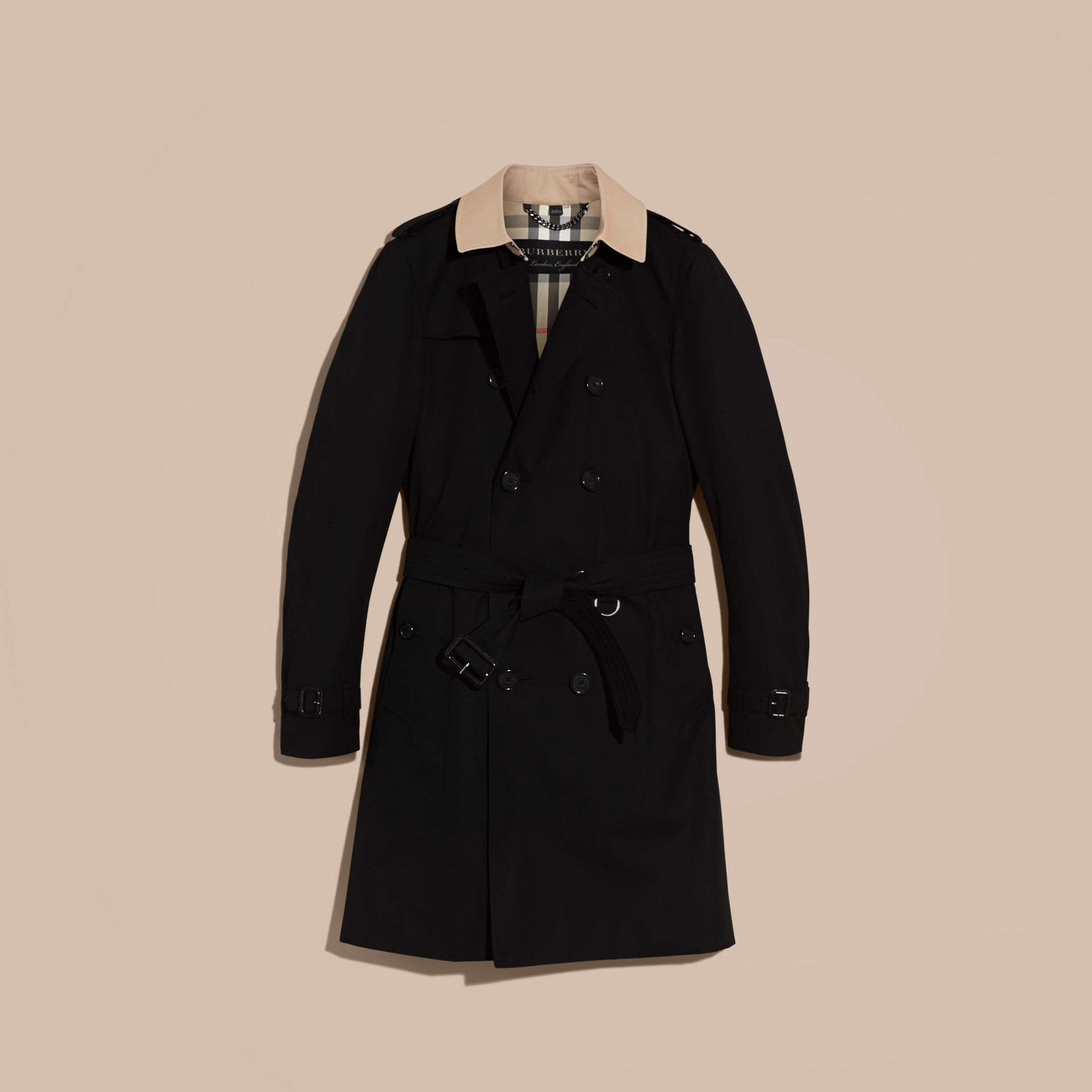 Black Contrast-collar Cotton Gabardine Trench Coat - gallery image 4