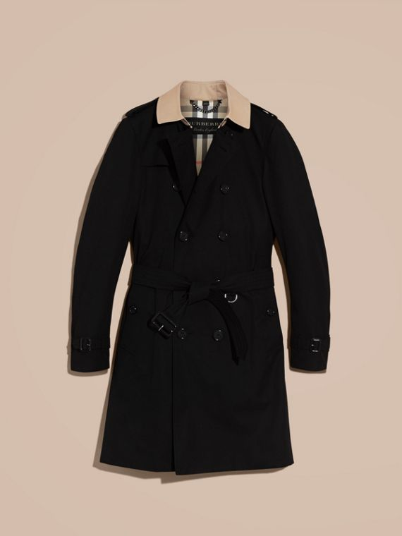 Black Contrast-collar Cotton Gabardine Trench Coat - cell image 3