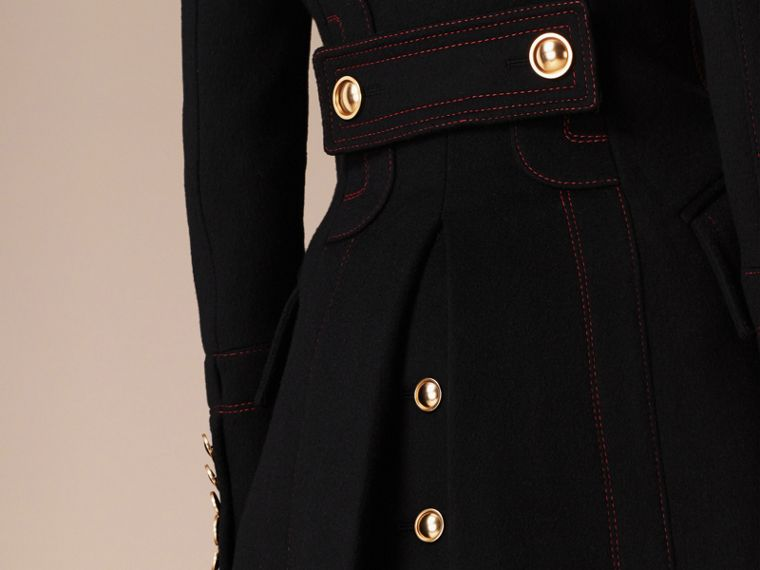 Black Wool Cashmere Military Coat - cell image 4