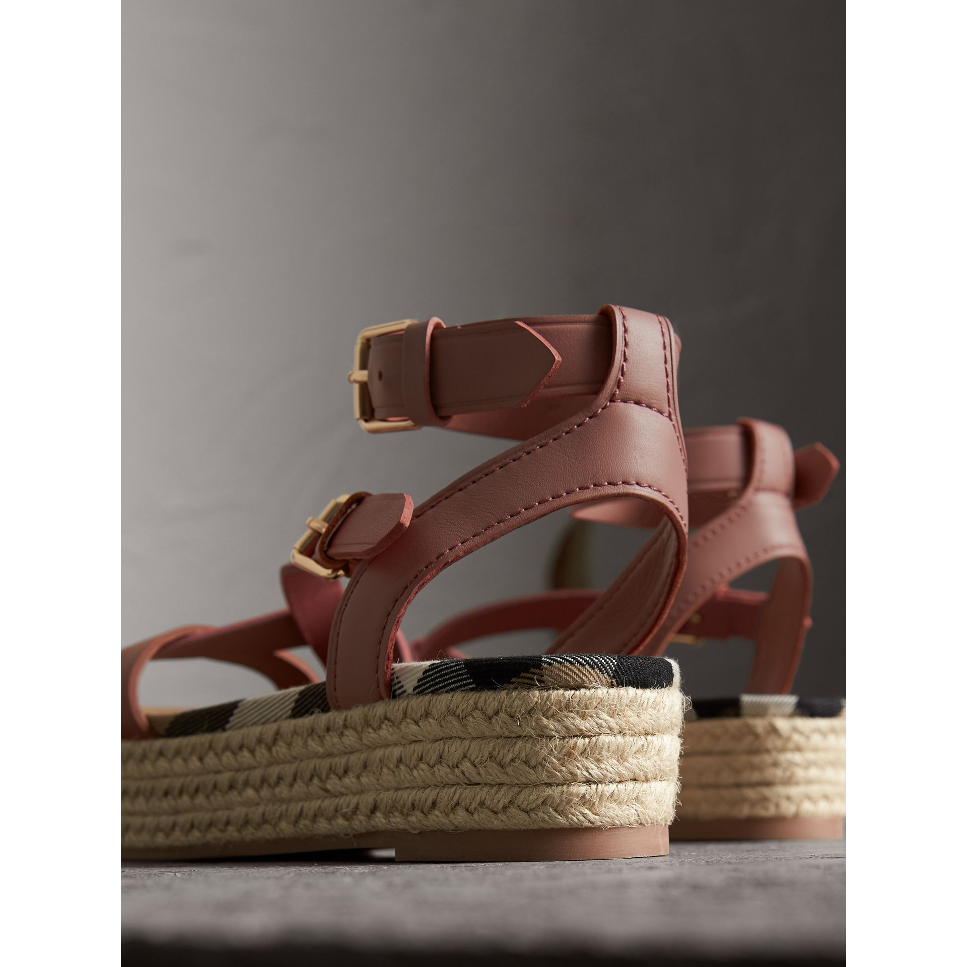 Two-tone Leather Espadrille Sandals in Dusty Pink - Women | Burberry - gallery image 3