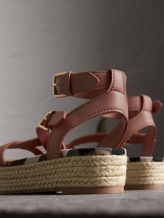 Two-tone Leather Espadrille Sandals in Dusty Pink - Women | Burberry - cell image 3