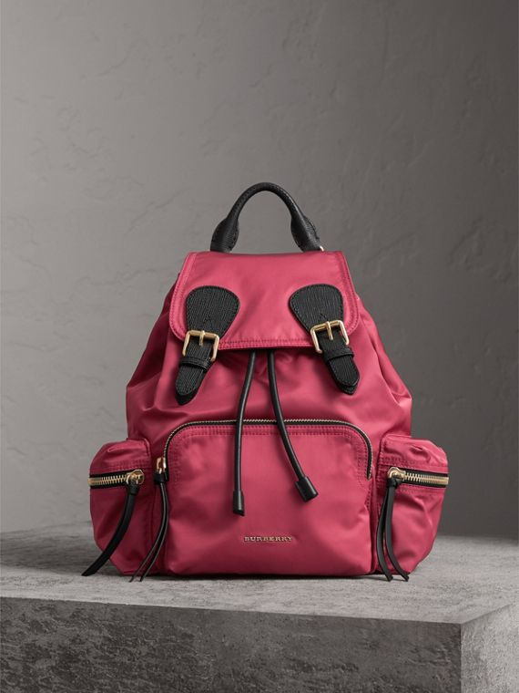 The Medium Rucksack in Technical Nylon and Leather in Plum Pink - Women | Burberry