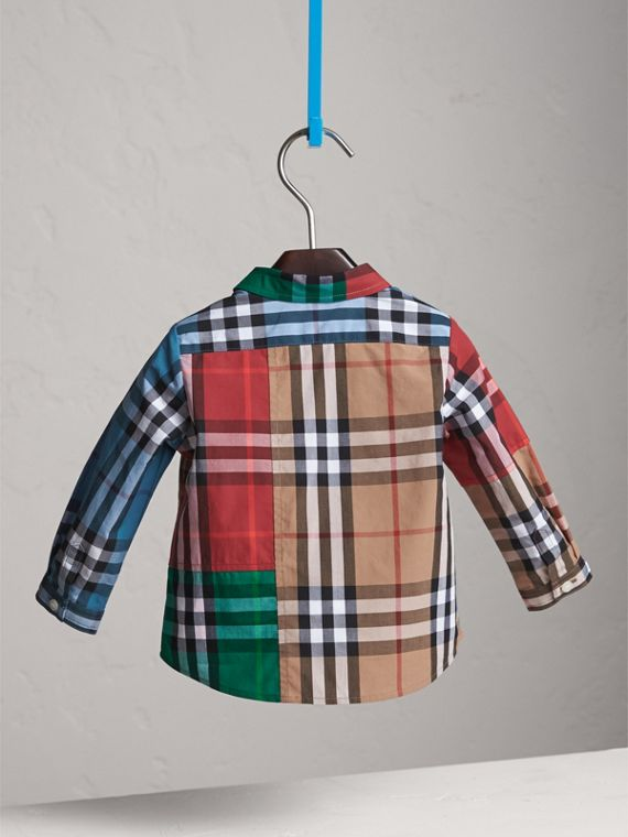 Contrast Check Cotton Shirt in Camel | Burberry - cell image 3