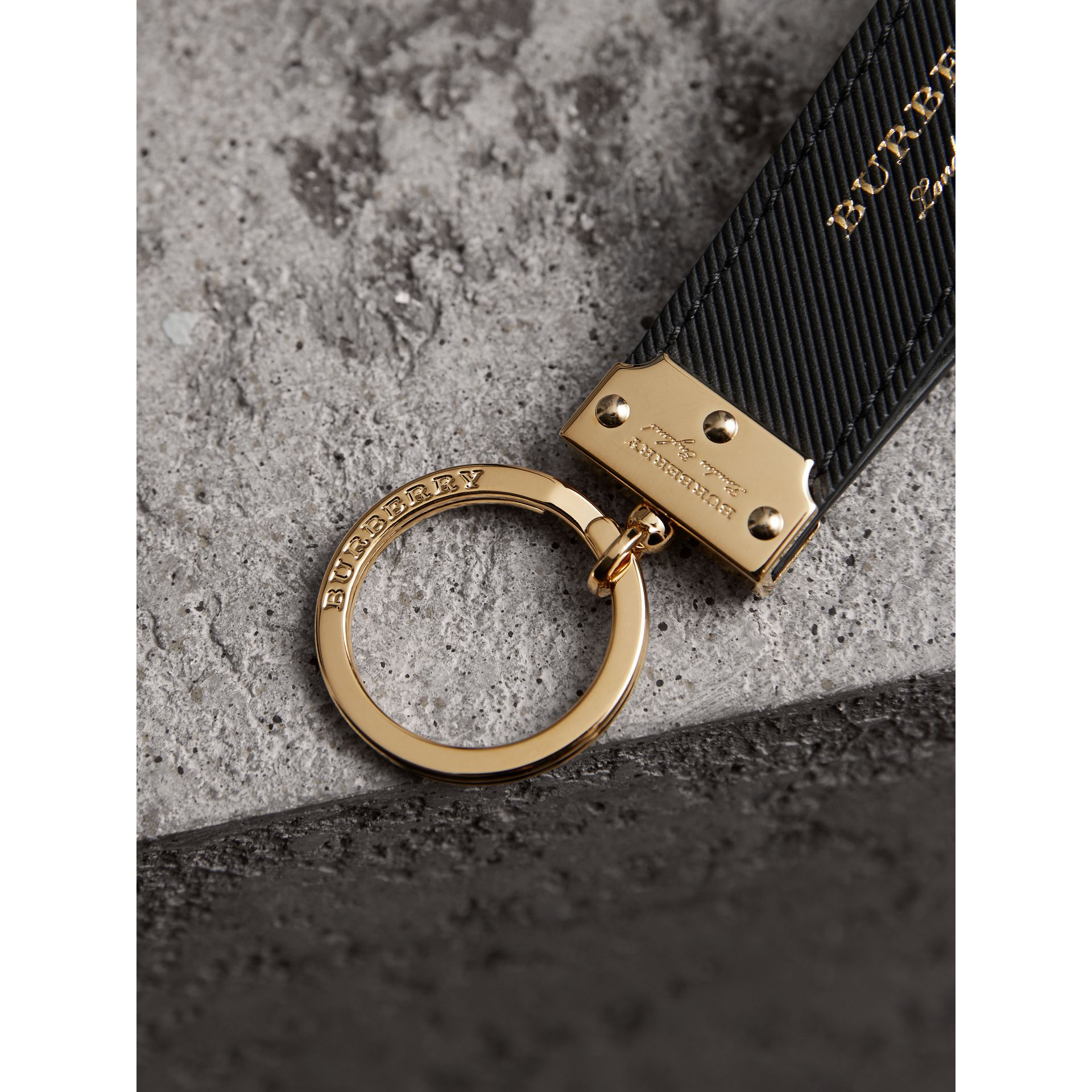Trench Leather Key Ring in Black | Burberry - gallery image 1