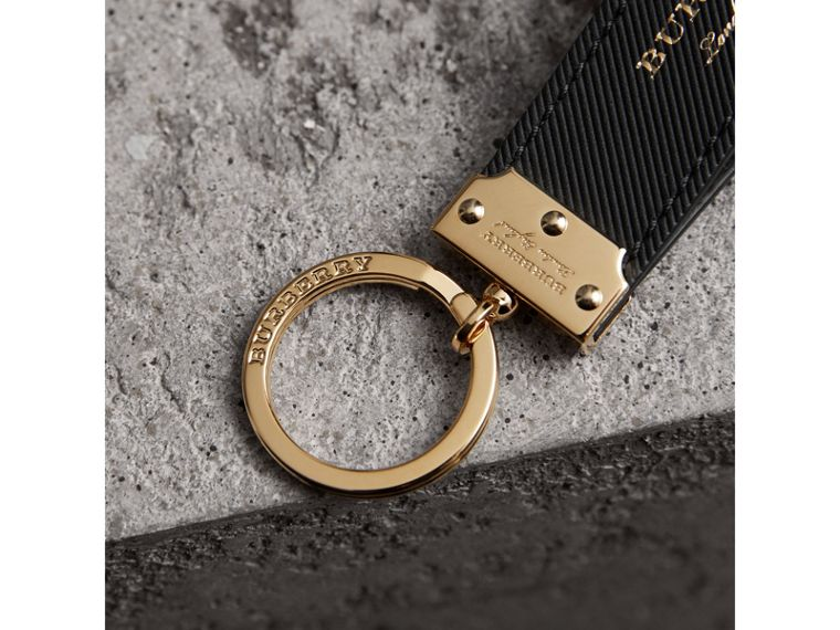 Trench Leather Key Ring in Black | Burberry - cell image 1