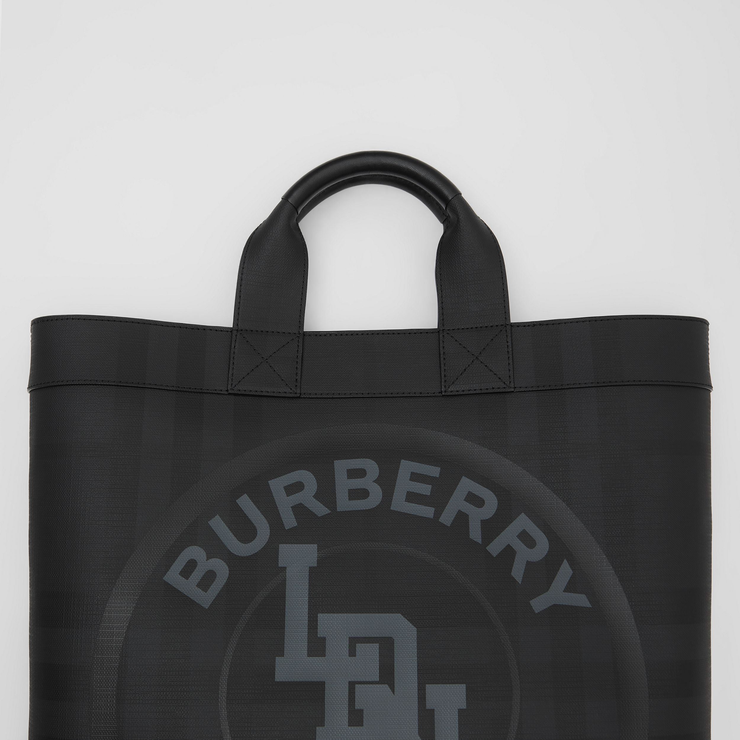Logo Graphic London Check Tote in Dark Charcoal | Burberry - 2