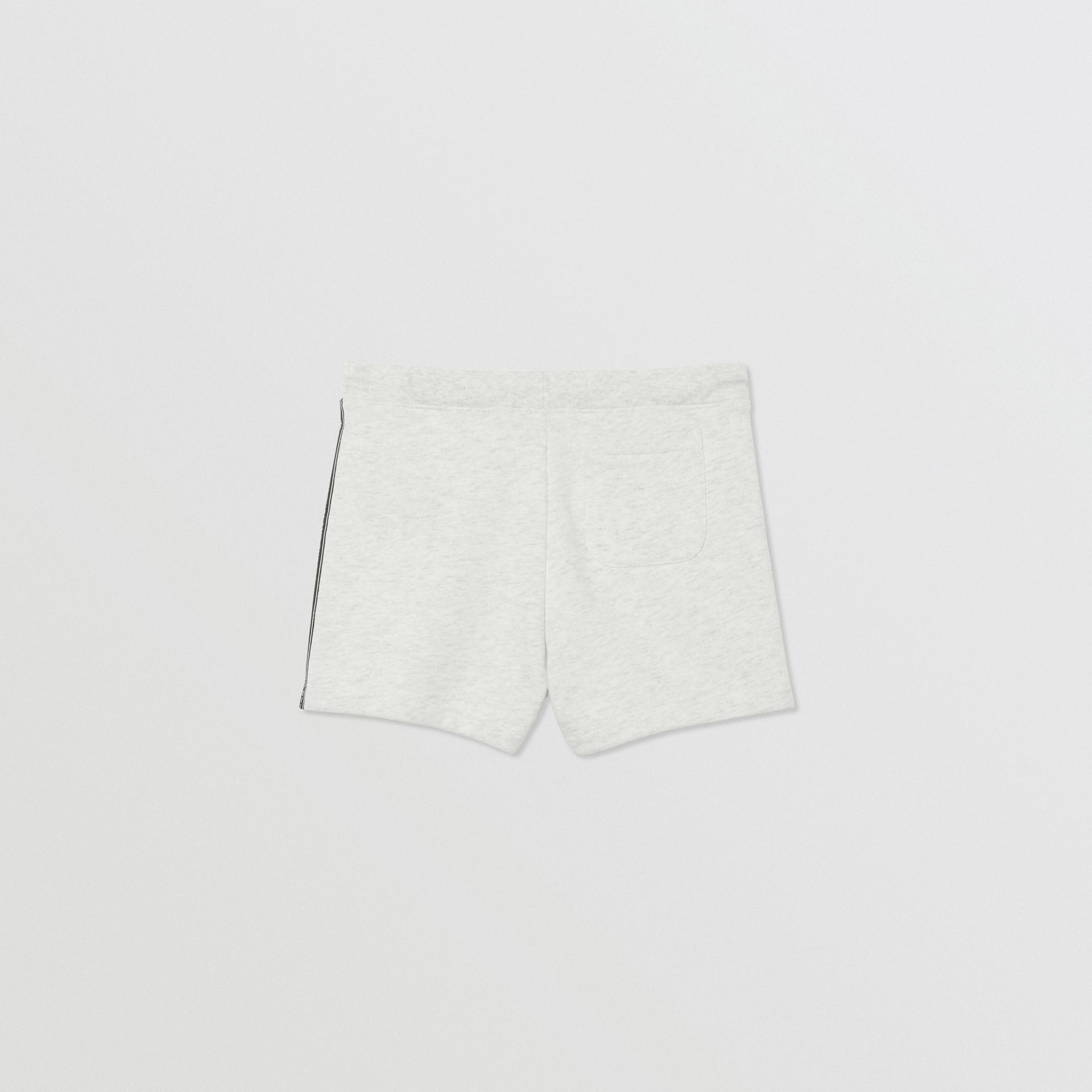 Logo Tape Cotton Drawcord Shorts in White Melange | Burberry United Kingdom - gallery image 3