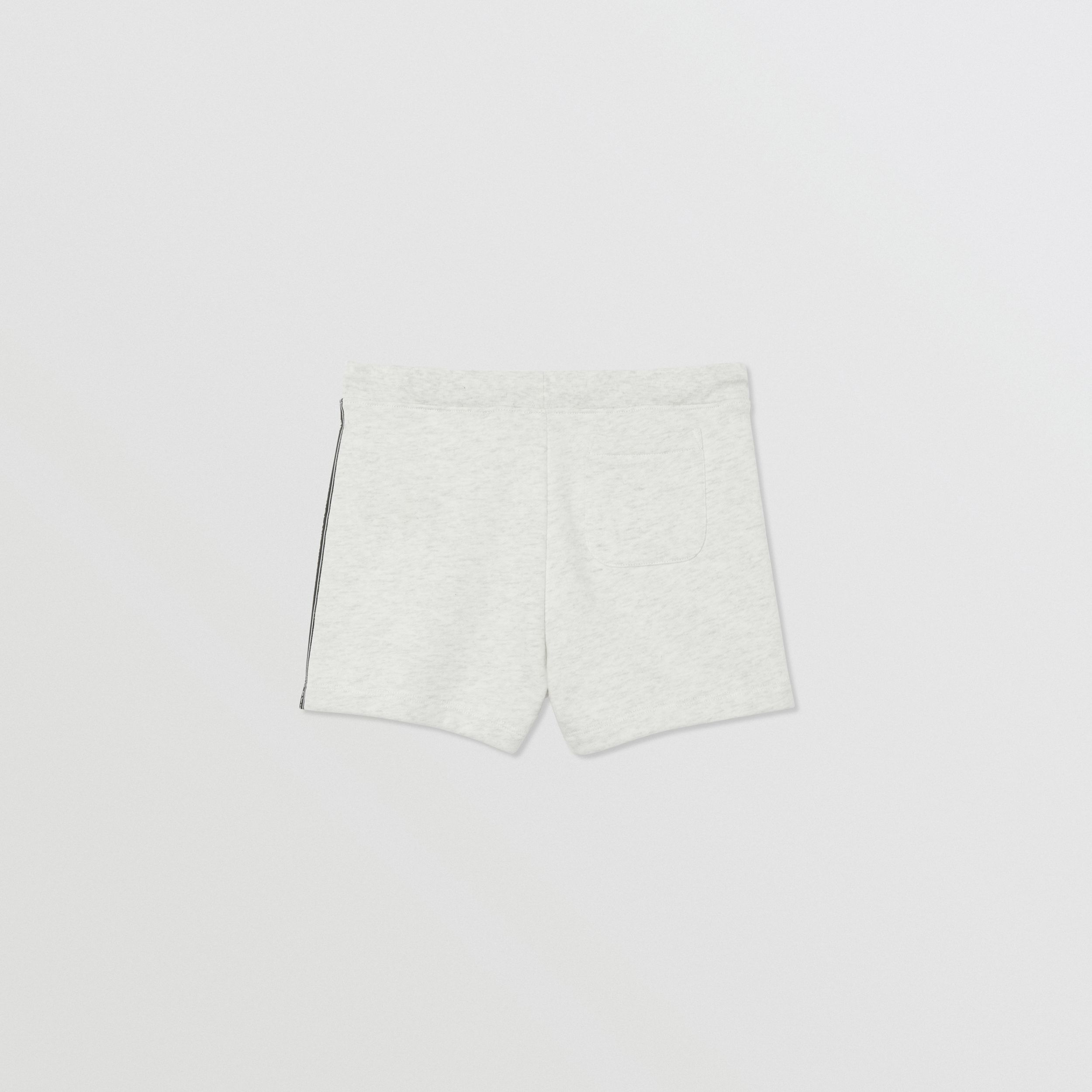 Logo Tape Cotton Drawcord Shorts in White Melange | Burberry - 4