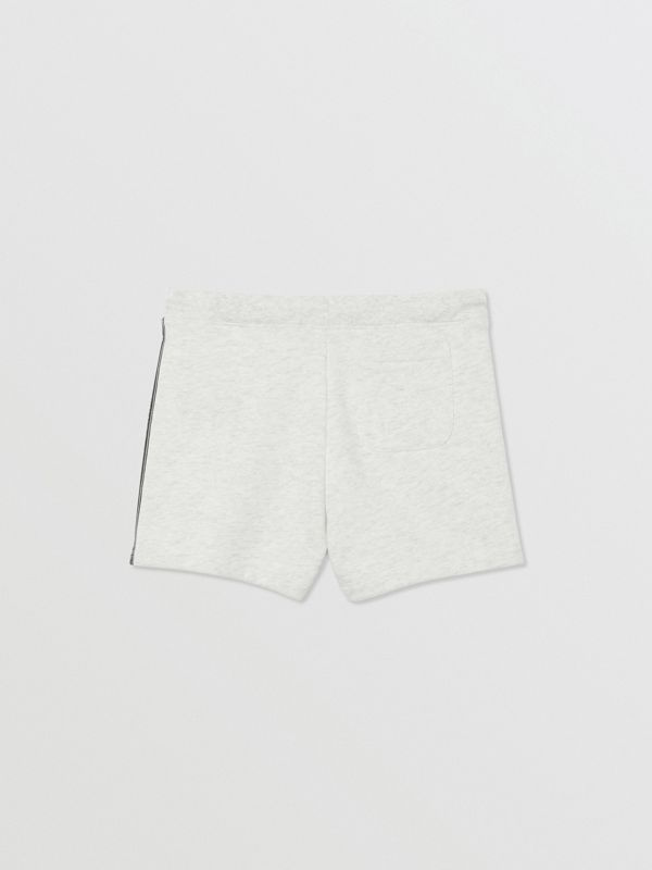 Logo Tape Cotton Drawcord Shorts in White Melange | Burberry United Kingdom - cell image 3