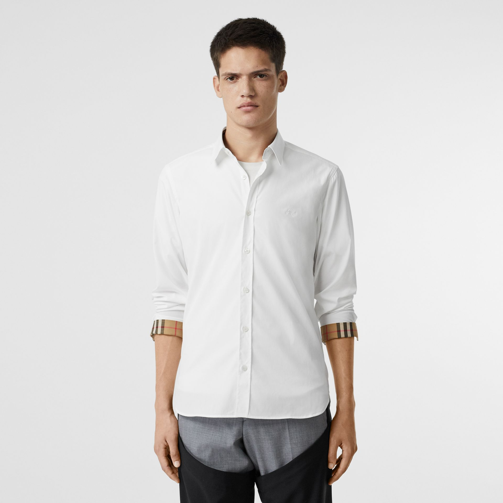 Stretch Cotton Poplin Shirt in White - Men | Burberry - gallery image 5