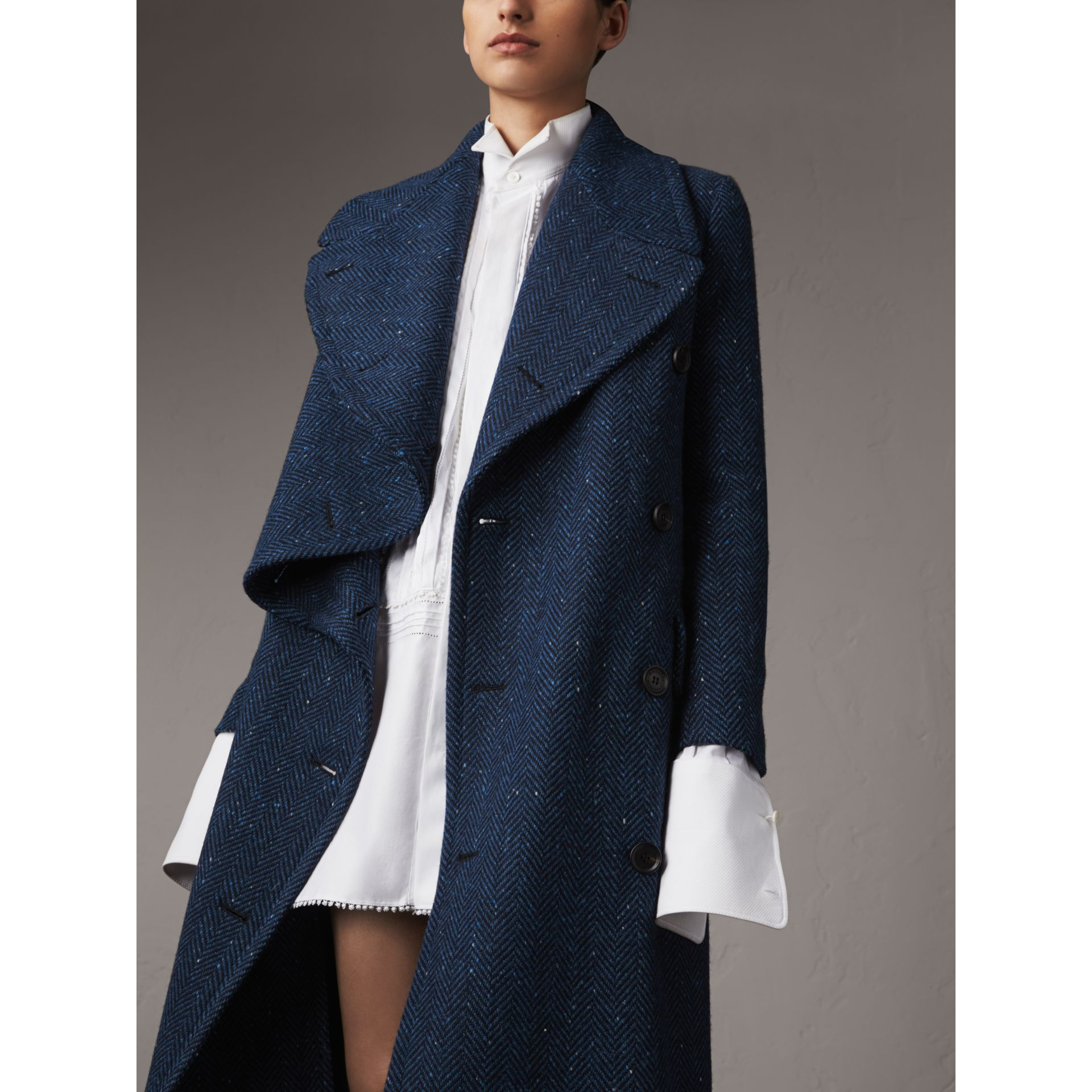 Herringbone Wool Cashmere Tweed Asymmetric Coat in Navy - Women | Burberry - gallery image 5