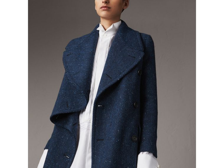 Herringbone Wool Cashmere Tweed Asymmetric Coat in Navy - Women | Burberry - cell image 4