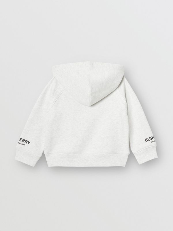 Logo Print Cotton Hooded Top in White Melange - Children | Burberry - cell image 3