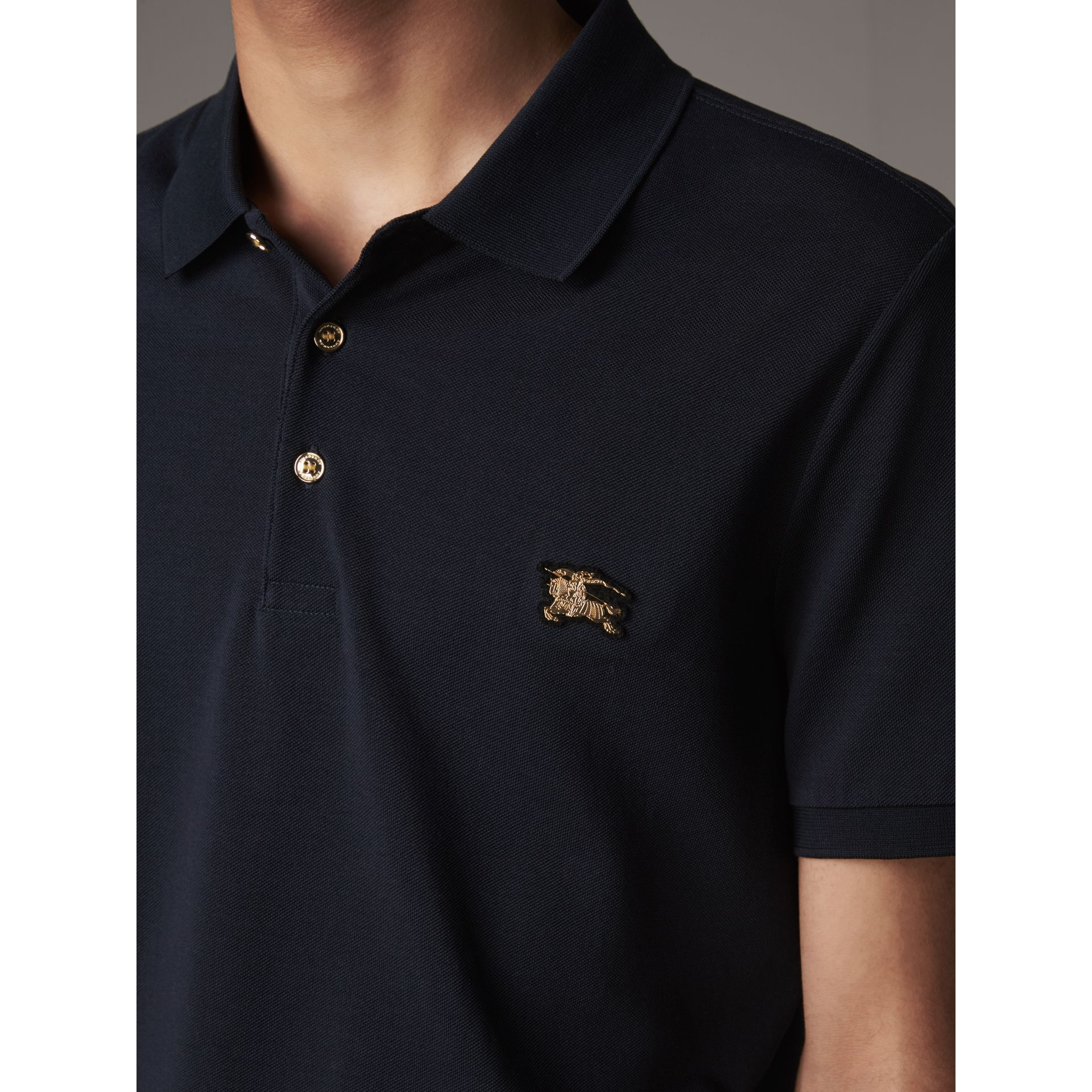 Cotton Piqué Polo Shirt in Navy - Men | Burberry Canada - gallery image 2