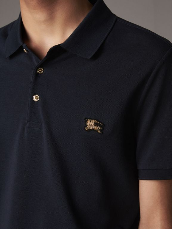 Cotton Piqué Polo Shirt in Navy - Men | Burberry United States - cell image 1
