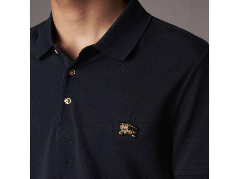 Cotton Piqué Polo Shirt in Navy - Men | Burberry United Kingdom - cell image 1