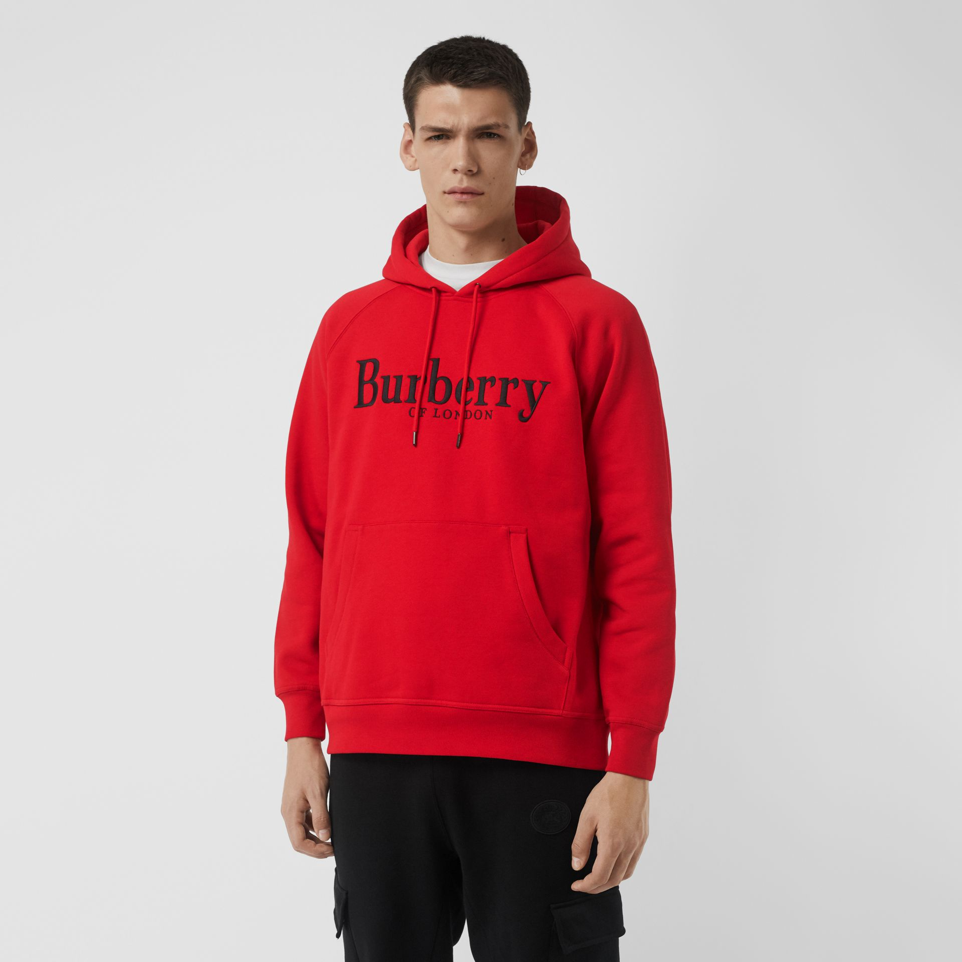 Embroidered Logo Jersey Hoodie in Bright Red - Men | Burberry - gallery image 4