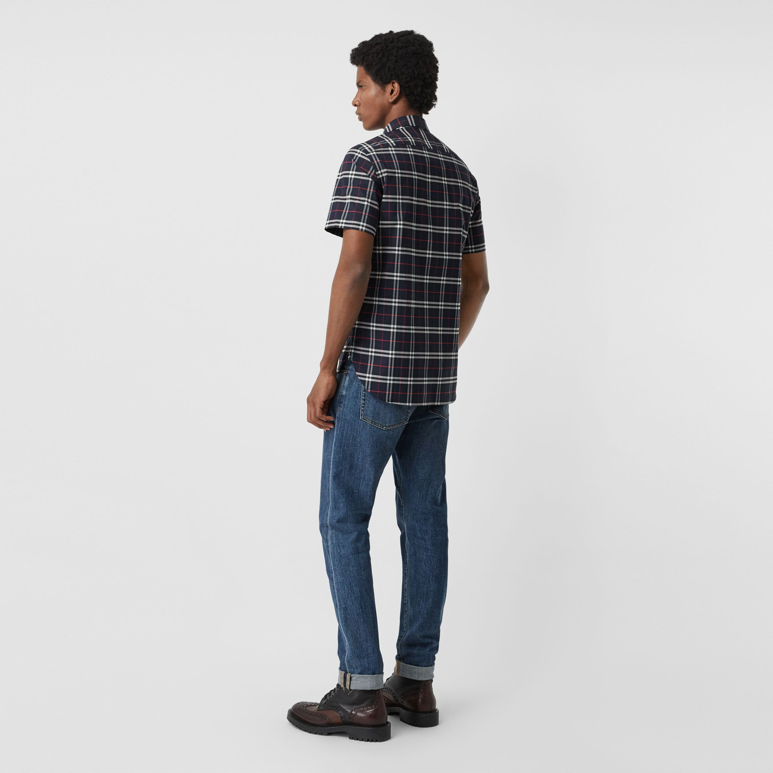 Short-sleeve Check Stretch Cotton Shirt in Navy - Men | Burberry - 3