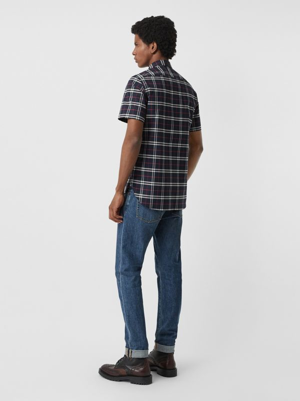 Short-sleeve Check Stretch Cotton Shirt in Navy - Men | Burberry - cell image 2