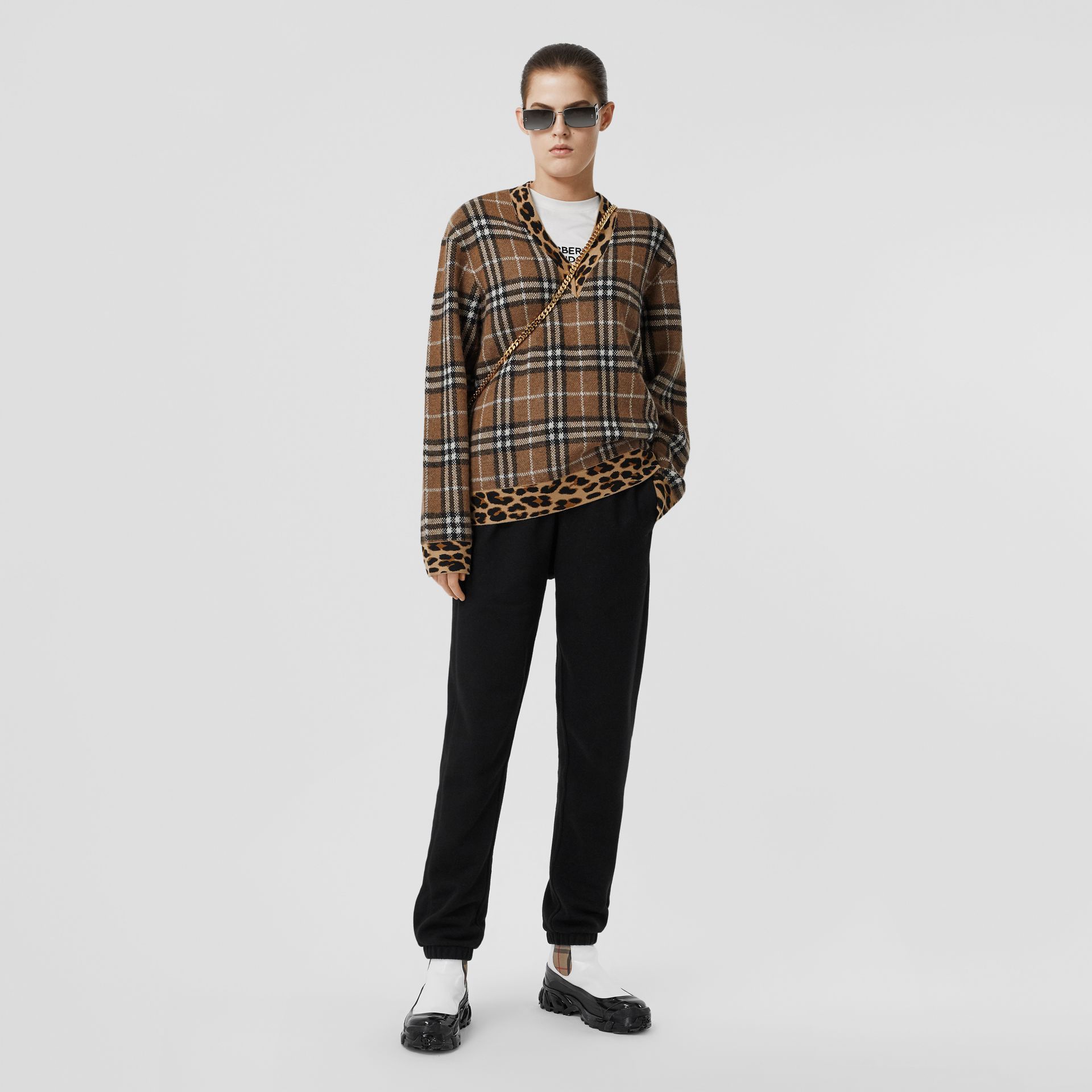 Leopard Detail Vintage Check Cashmere Blend Sweater in Archive Beige - Women | Burberry Hong Kong S.A.R - gallery image 0