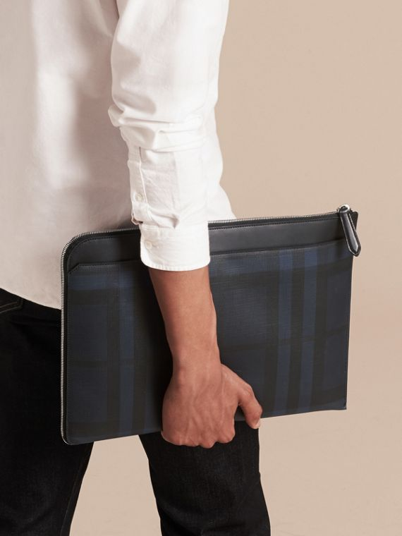 London Check Document Case in Navy/black - cell image 2