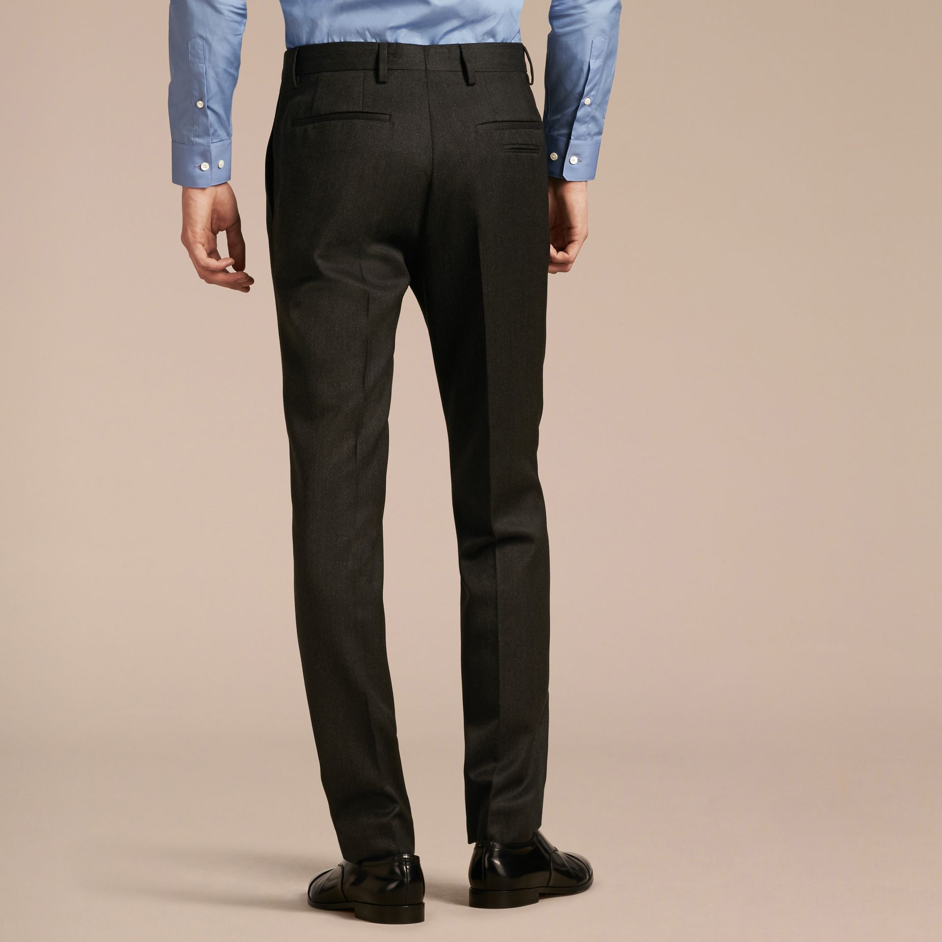 Modern Fit English Wool Tailored Trousers Dark Grey Melange - gallery image 3