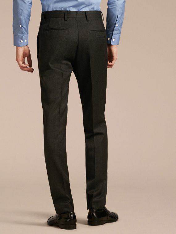 Dark grey melange Modern Fit English Wool Tailored Trousers Dark Grey Melange - cell image 2
