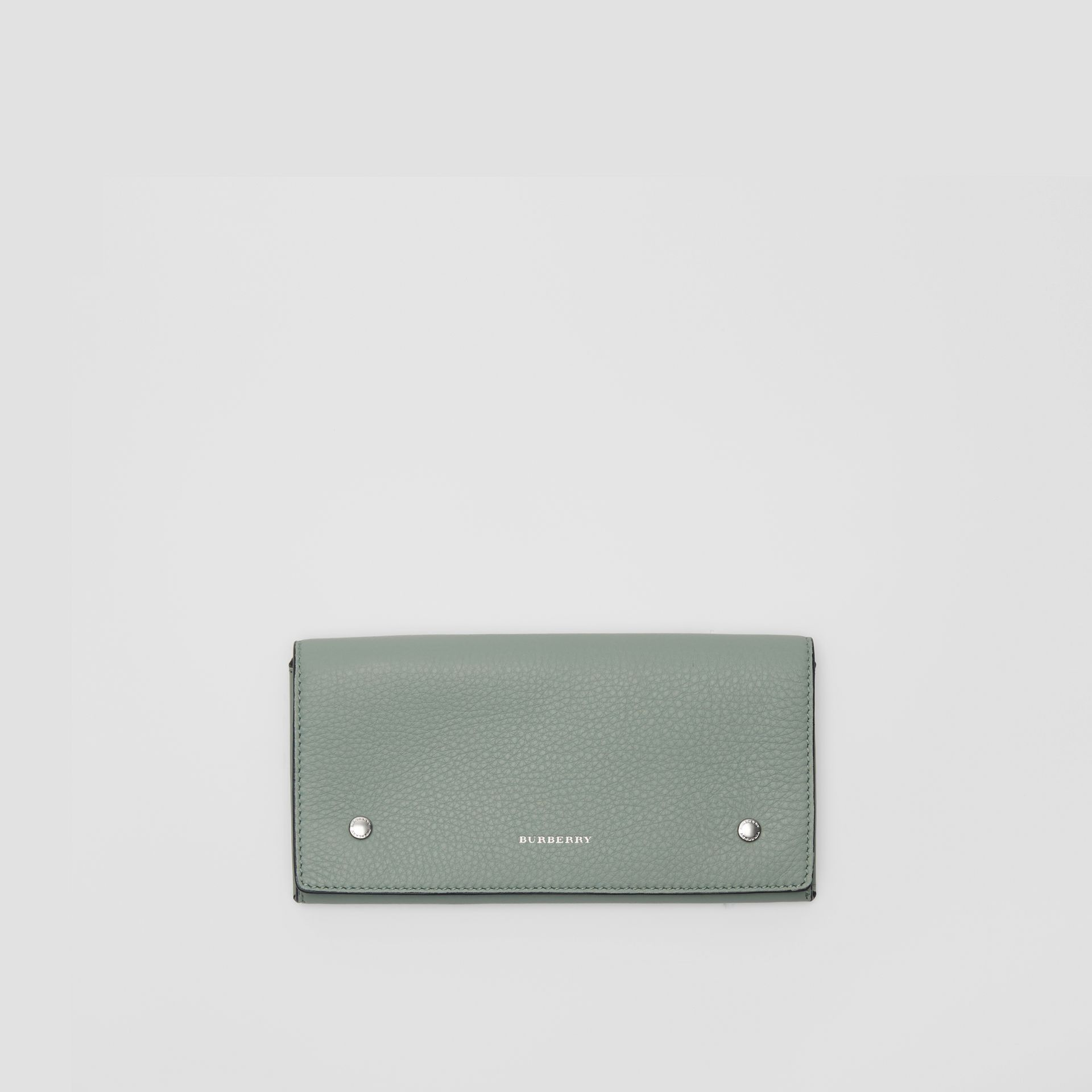 Two-tone Leather Continental Wallet in Grey Blue - Women | Burberry Singapore - gallery image 0