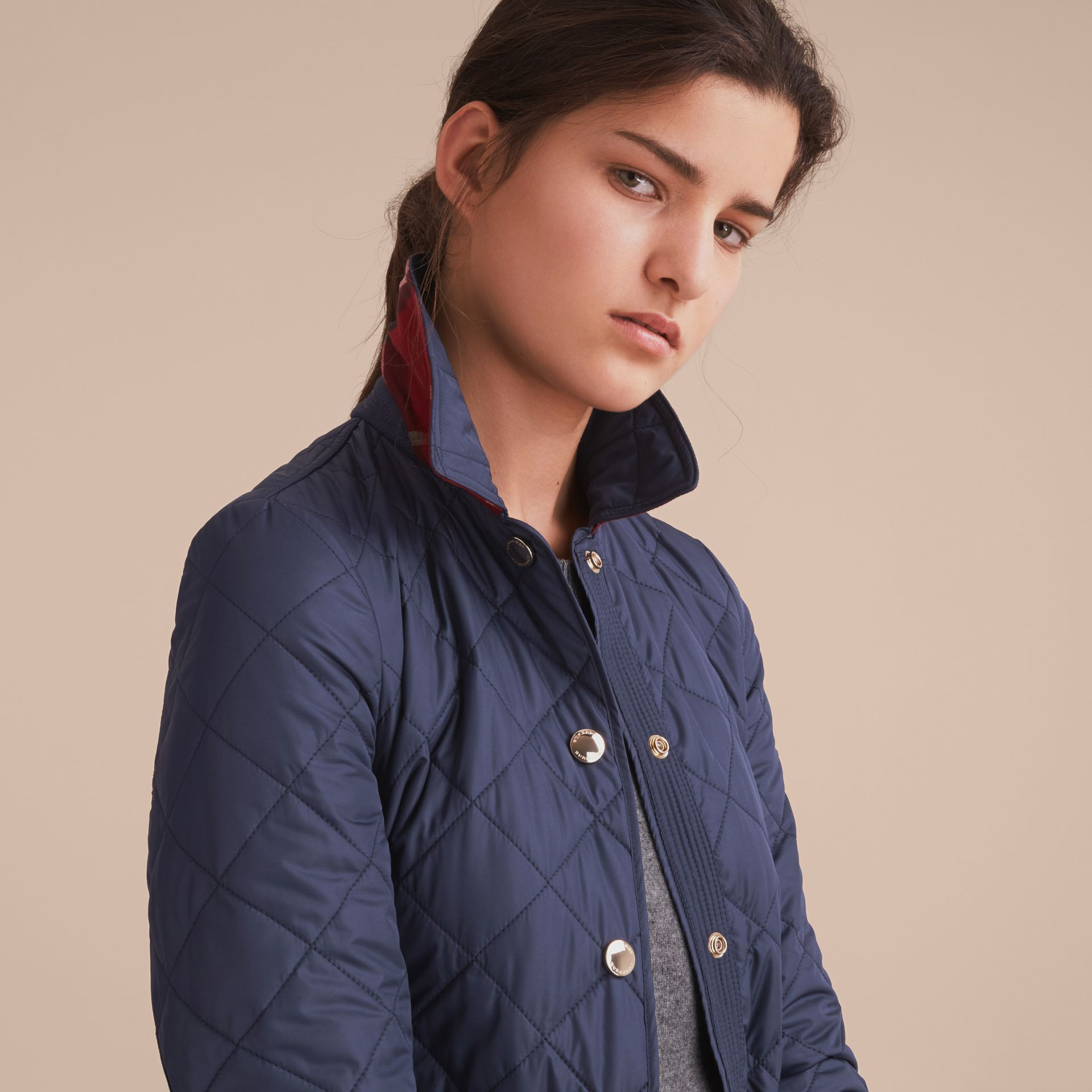 Check Detail Diamond Quilted Jacket in Navy - gallery image 5