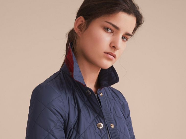 Check Detail Diamond Quilted Jacket in Navy - cell image 4