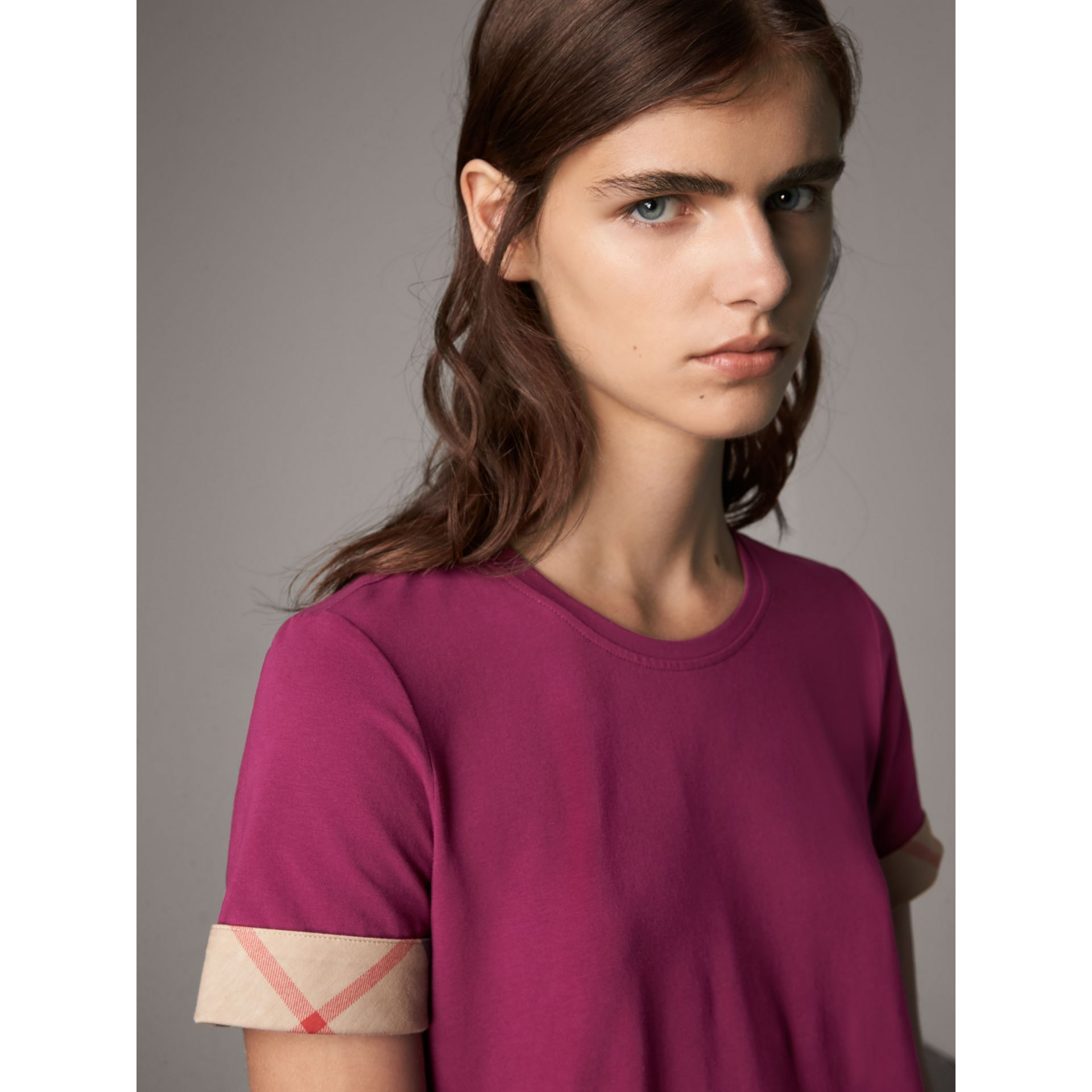 Check Cuff Stretch Cotton T-Shirt in Magenta Pink - Women | Burberry Canada - gallery image 2