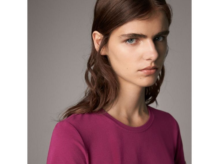 Check Cuff Stretch Cotton T-Shirt in Magenta Pink - Women | Burberry Canada - cell image 1