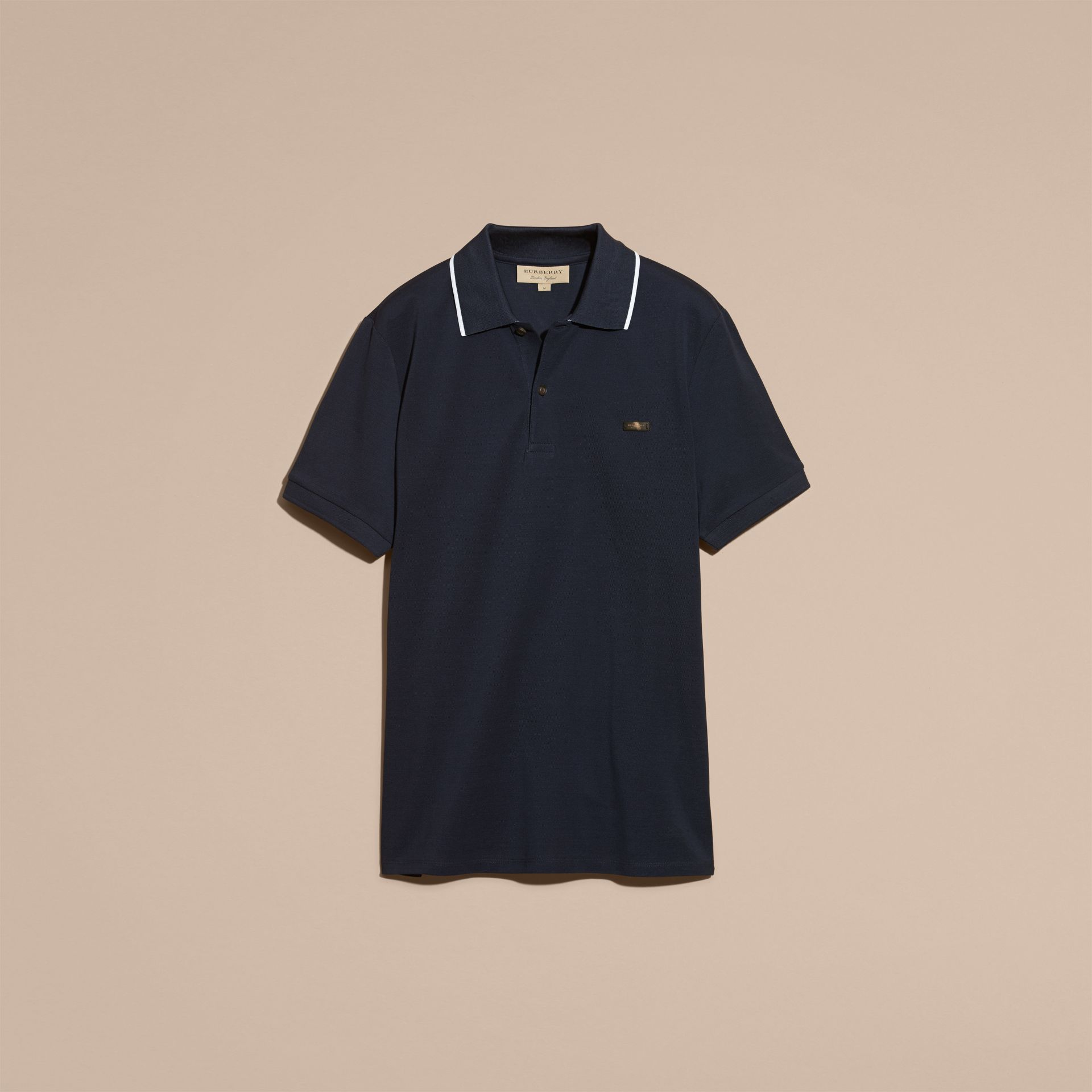 Tipped Collar Cotton Piqué Polo Shirt in Navy - Men | Burberry - gallery image 4